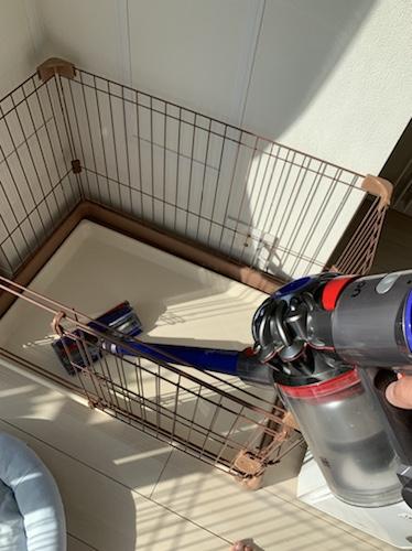 ケージの中をダイソンのスティック型掃除機で掃除する様子